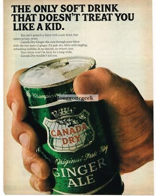 1966 Canada Dry Ginger Ale Giant Hand Holding Can Vtg  Print Ad