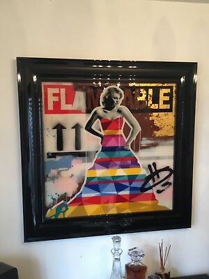"Lhouette Original Painting ""Flamable"" 30' x 30' image in Black Frame"