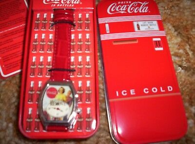 Vintage Coca-Cola Collectible  Watch in refrigerator tin.