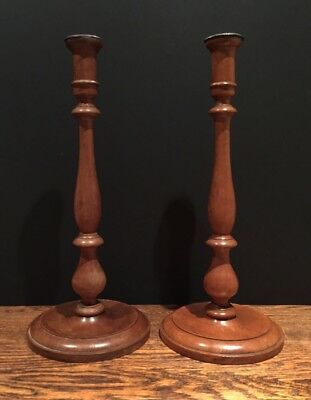 Fabulous Oversized Antique Early 20th Century Pair Wooden Turned Candlesticks