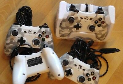 Lot of 2 Xbox One Wired Controller Arctic White Camo Official PowerA Windows 10