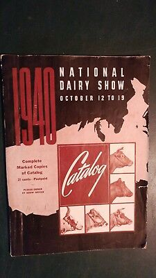 1940 National Dairy Show Holstein & Dairy Breeds Show Catalog Harrisburg Pa