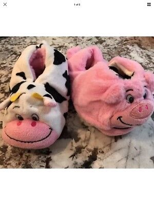 Nwt Toddler Girl Flipazoo Slippers Size S (10/11) *cow & Pig*
