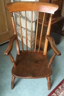 English Antique Vintage Elm/Beech Fireside Kitchen Windsor Stick back Armchair