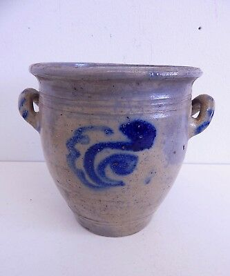 Antique Ovoid Stoneware Salt Glaze Cobalt Blue Flower Crock with Lug Handles.