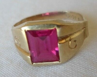 Vintage 10k Yellow Gold Solitaire Red Stone Ring - 2.1 gms, Size 7.25