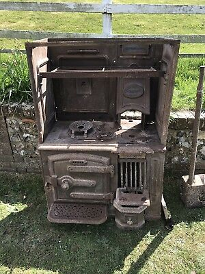 Antique Victorian Cast Iron Kitchen Cooking range fireplace hob