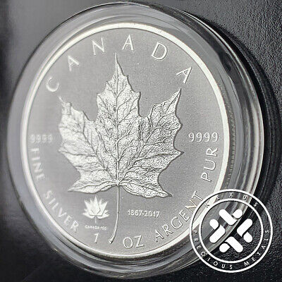 2017 1 Oz Pure Silver Maple Leaf Reverse Proof Coin 150Th Ann. Privy In Capsule