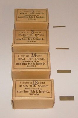 4 Boxes Vintage Letterpress Printing #6-#8-#14-#18 Point Brass Thin Spaces