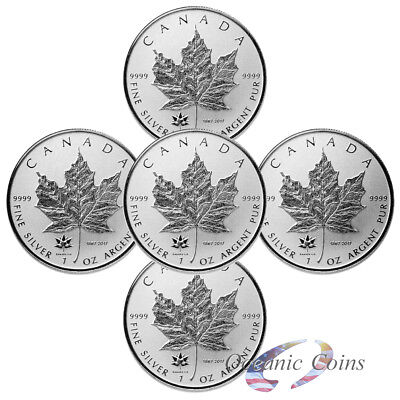 Lot of 5 150th Anniversary Privy- 2017 1 oz Pure Silver Maple Leaf Reverse Proof