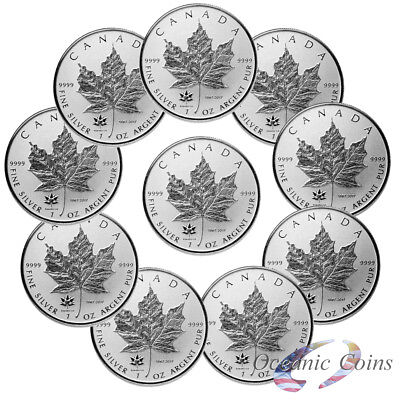 Lot of 10 150th Anniversary Privy- 2017 1 oz  Pure Silver Maple Leaf Rev Proof