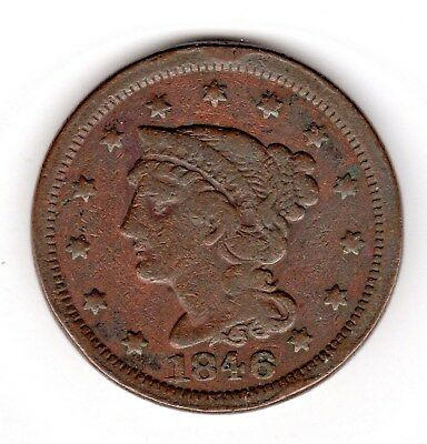 1846 Large Cent - Braided Hair - Small Date - Really Good Condition!