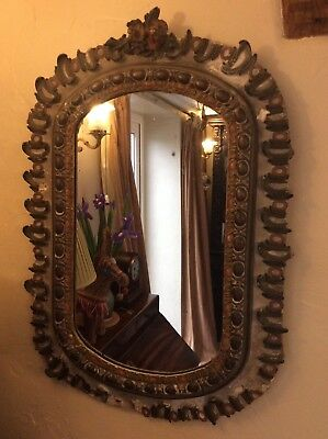 Antique Mirror Plaster Gesso on Pine Distressed Condition Useable or Restore