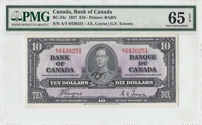 1937 BANK OF CANADA KGVI $10 **Coyne & Towers** (( PMG 65 EPQ ))