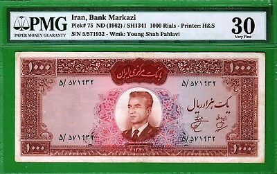 M-East ND1962 MR Shah Pahlavi 1000 Rial P75 PMG30 Very Fine