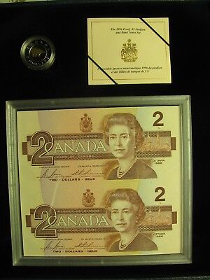 1996 Proof $2 Piedfort set  w/ banknotes 1st year of issue Canada toonie .925 si
