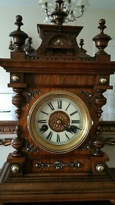 Edwardian Walnut 14 Day Wurttemberg H.A.C Black Forest German Bracket Clock