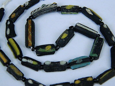 "Ancient Roman Glass Fragments Beads Strand C.200 Bc   """"E5122"""""