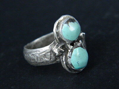 "Antique Post Medieval Silver Ring With Nice Stones 1800 Ad  ""Tc432"