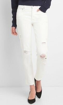 Gap Womens High Rise Slim Straight Jeans With Distressed Detail Size 28P- White