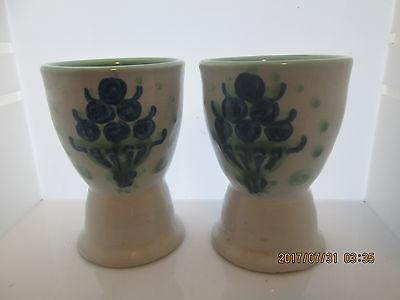M.A. Hadley Pottery BLUEBERRIES Single Egg Cups Pair
