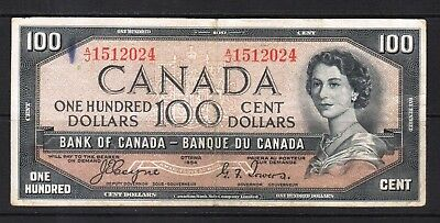"""Canada - 1954 Bank of Canada 100 Dollar Banknote P72a VF+ """"DEVIL'S FACE"""""""