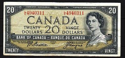 Canada - 1954 Bank of Canada 20 Dollar Banknote P80a VF Condition QEll