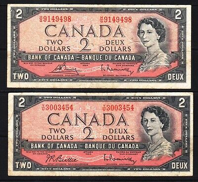 Canada - 1954 Bank of Canada 2x2 Dollar Banknote P76b,c  Fine Condition QEll