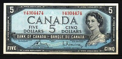 Canada - 1954 Bank of Canada 5 Dollar Banknote P77c  XF/aXF+ Condition QEll