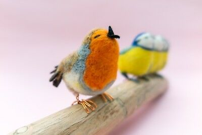 Needle Felted Singing Birds Ornament (Robin and Blue Tits) fibre art wool