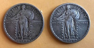 Lot of four Standing Liberty Quarters - 1918 D (2), 1925, 1929
