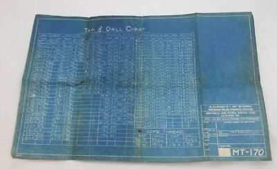 Vintage 1942 Universal Power Shovel Co Unit Original Crane Tap & Drill Chart