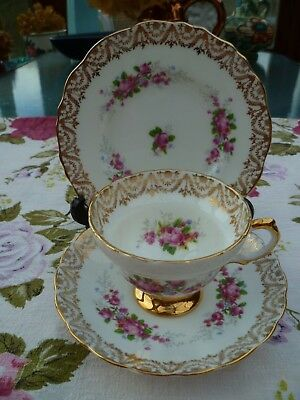 Pretty Vintage English China Trio Tea Cup Saucer Plate Regency Gilded Pink Roses