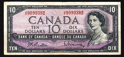 Canada - 1954 Bank of Canada 10 Dollar Banknote P79b VF Condition QEll