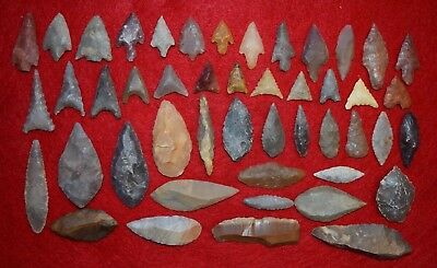 47 common Sahara Neolithic stone tools, projectile points/scrappers