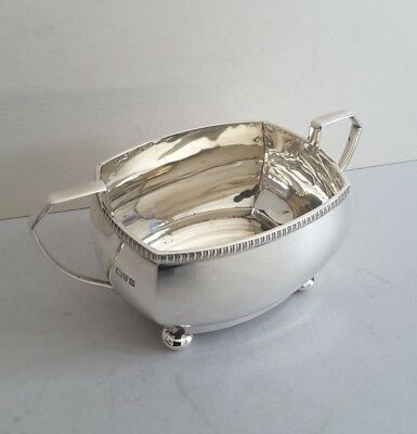 Quality Deco Vint. Solid Silver 2-Handle Sugar Bowl. 164Gms.  Chester. 1929.