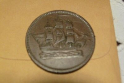 Canadian Ships Colonies and Commerce Half Penny Token