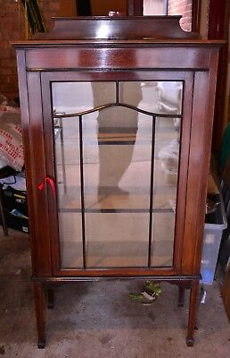 Victorian Antique Display Cabinet Flame Mahogany Glazed Doors Lined inside & key