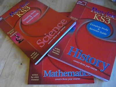 3 X Letts Revise Ks3 History Science Maths  Complete Study & Revision Guides