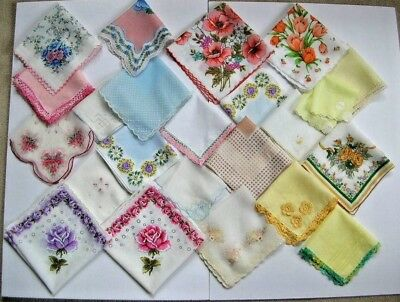 lot of 23 vintage handkerchiefs floral hankies for craft use