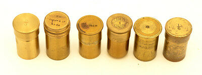 6 c.19th brass microscope objective cannisters #1