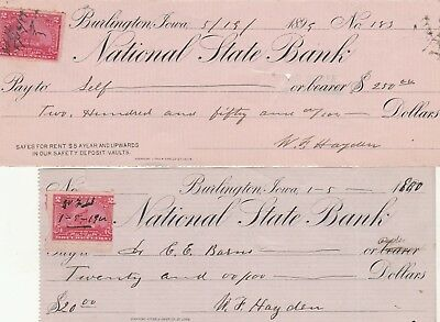 Two (2) National State Bank, Burlington, Iowa  1899 & 1900  Revenue Stamps