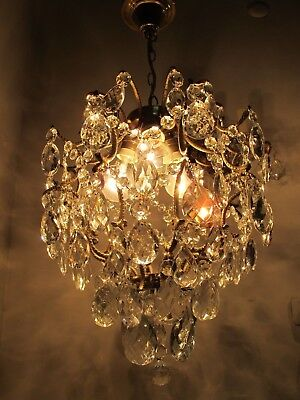 Antique Vnt French Big Cage Style Crystal Chandelier 1940's 14in Ø diamter*-*-