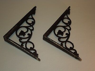 "Old Pair of Cast Iron Shelf Wall Ornate Leaf Brackets 8 1/4"" x 6 1/4"""