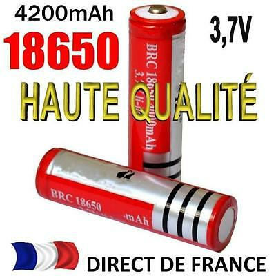 2 Piles Accus Batteries 18650 3.7V Rechargeable Battery 4200mAh LED LAMPE JOUET
