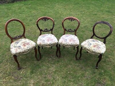 Set of 4 (Four) Ornate Balloon Back Dining Chairs