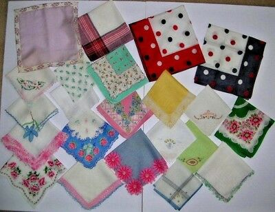 lot of 22 vintage handkerchiefs floral hankies for craft use
