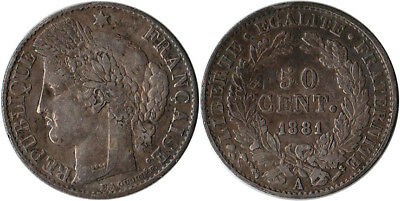 1881 (A) France 50 Centimes Silver Coin KM#834.1