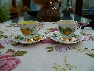 2 Royal Standard China Coffee Cups Saucers Wheatcroft Yellow Roses