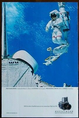 Hasselblad Cameras Vintage Print Ad 1985 NASA Space Shuttle Astronaut